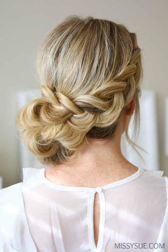 low side dutch braid bun