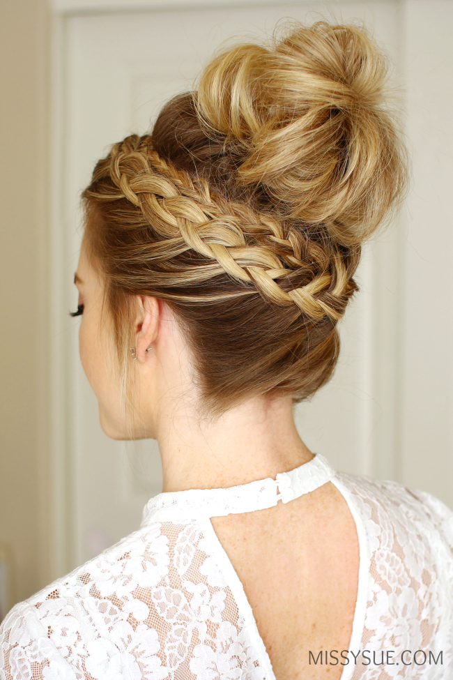 dutch braid high bun