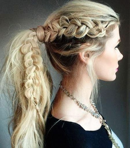 dutch braid with ponytail