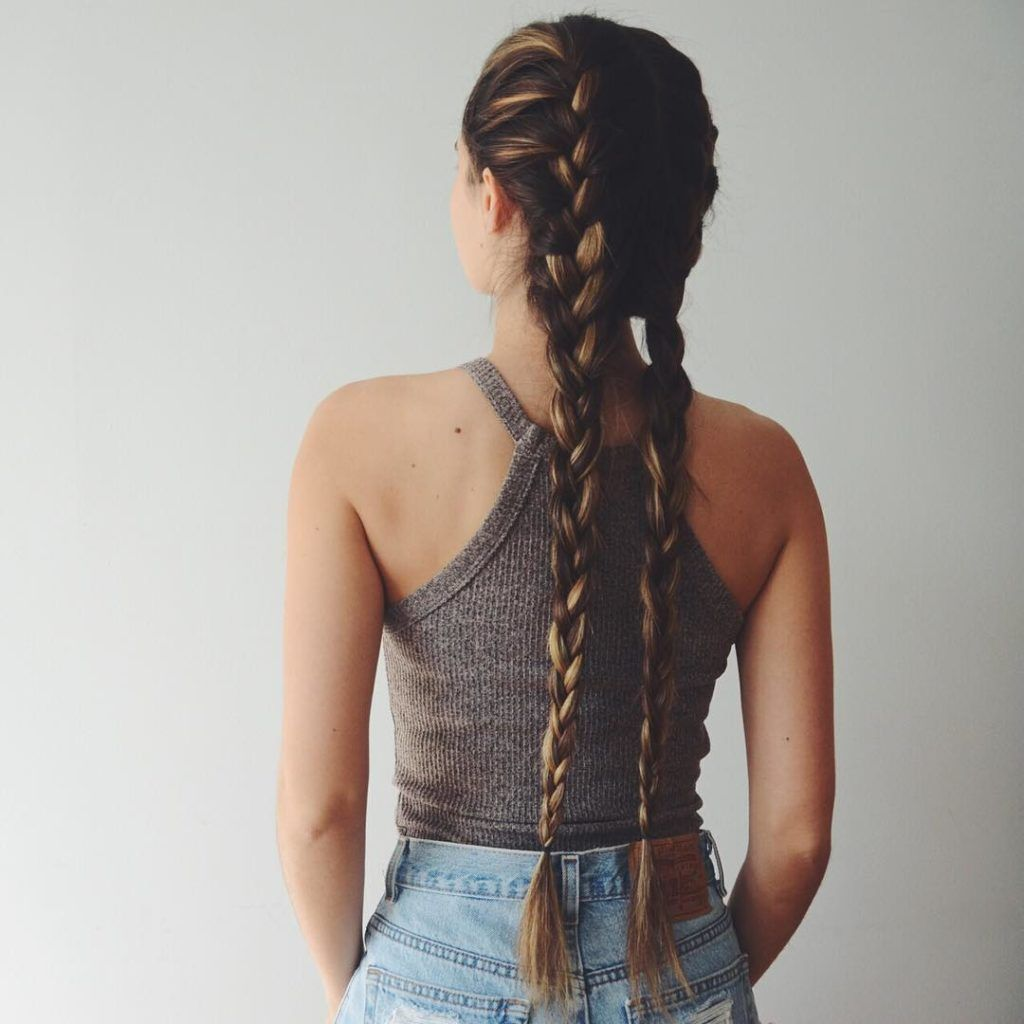 french braid pig tails